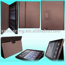 New fashion fiber carbon stand flip leather case for ipad 2