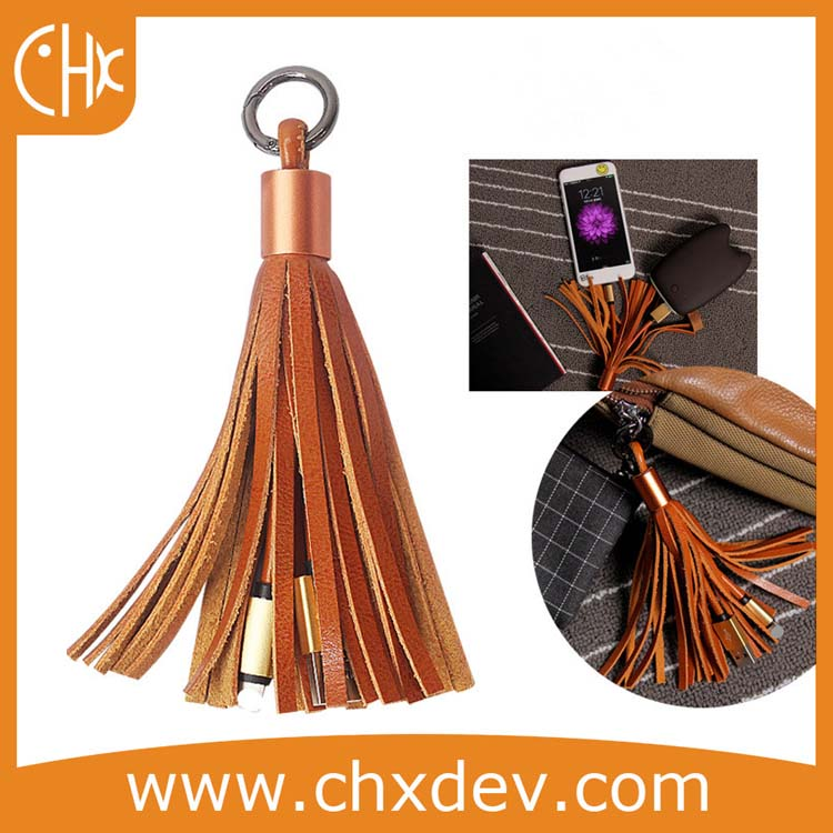 2017 hot selling PU leather tassels micro usb data charging cable for Samsung HTC iPhone