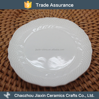 High quality heat resistant white round plain restaurant ceramic plate