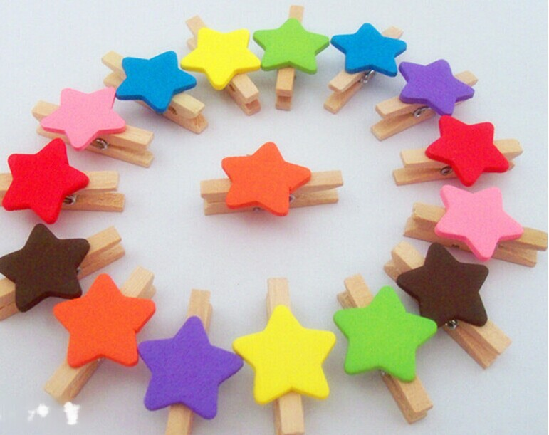 Mix Colors Mini Clip with star shape,Mini Wooden Clothes Peg,Mini Clips coloured best seller wood clamp for Wedding Favors