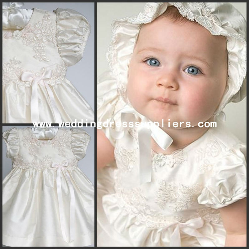 CH002 Custom Handmade Taffeta Gown With Beaded Applique Christening Gown