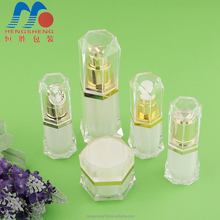 Hengsheng manufacture 2018 new design crystal clear diamond shape 15ml 20ml cosmetic bottle acrylic cream jars