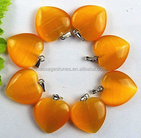 Orange cat eye 20x6mm gemstone heart pendant