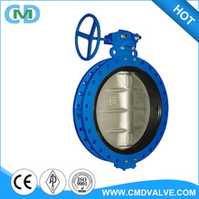 DIN 3354 dn100 pn16 Central Line Hand Wheel Double Flange Butterfly Valve