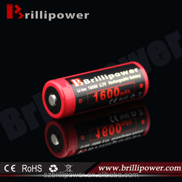 Brillipower 3.6v rechargeable li ion battery 18500 1600mah e-cig mod wholesale