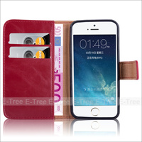 Premium Leather Wallet Folio Cover Case For iPhone 5 5s