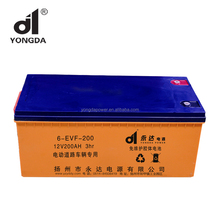 6-EVF-200 12V 200ah deep cycle electric road vehicles battery for 12v 200ah solar gel battery