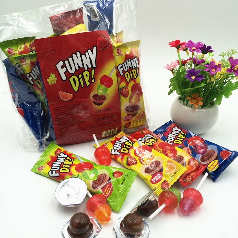 17g Funny Dip two color fruit flavor lollipop with chocolate jam cup