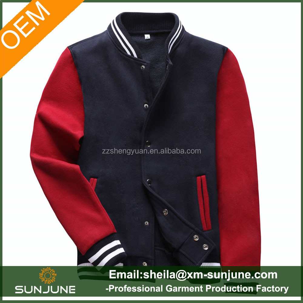 Wholesale blank baseball slim fit jacket for young man