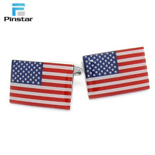 Design your own fashional zinc-alloy USA flag shaped cufflinks