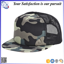Stylish flat bill trucker cap digital distressed camo hat with mesh