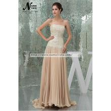 China cheap Sleeveless Champagne Ruffle Sequins Gray Court Train Long A-line Tulle Bridesmaid Dresses