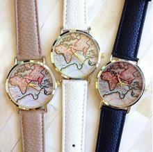New Vintage Vogue Earth World Map Watch Alloy Women Men Analog Quartz Wrist Watches