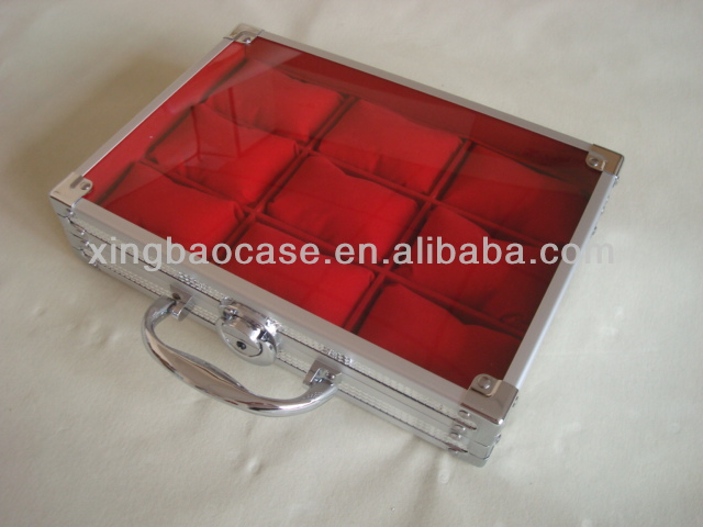 Good watch case,ABS panel watch box leather luxury,aluminum branded watch box