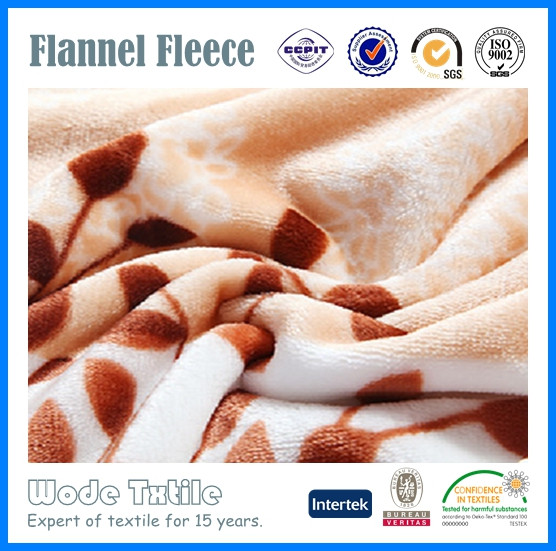 100%Polyester Flower Printed Flannel Fabric/Flannel Fleece