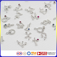 18K White Gold Diamond Gemstone Alphabet Pendant Letter Charms Design