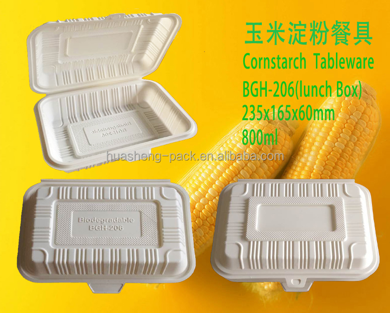 800ml wholesale eco-friendly corn starch biodegradable disposable lunch box