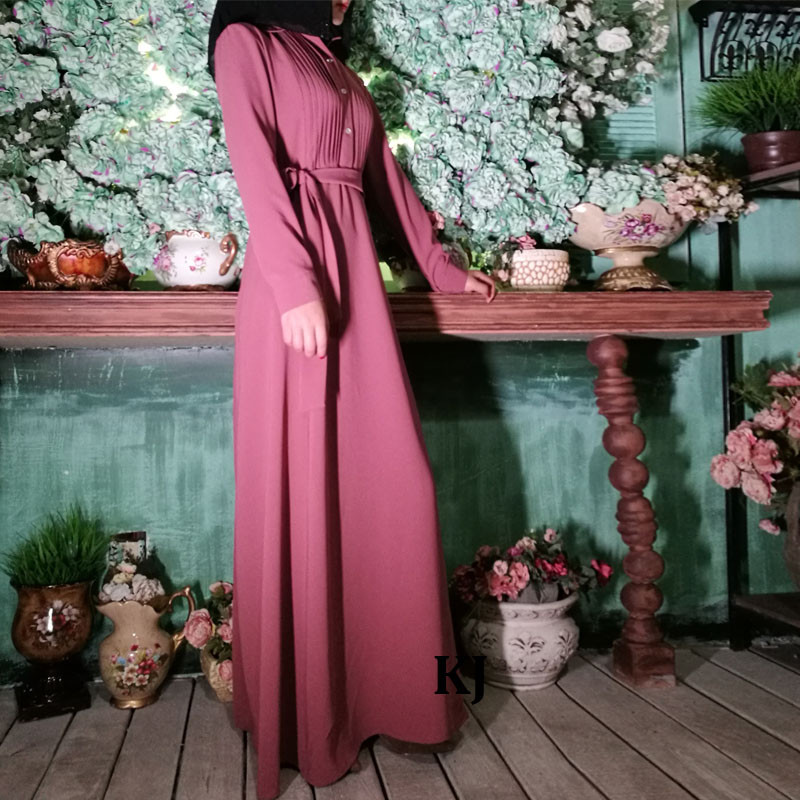 0297 front pleats crepe casual jilbab 2017