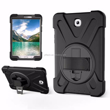 2017 good quality custom PC + silicone material hard kickstand militifunction band strap tablet case for Samsung Tbs 9.7'' T820