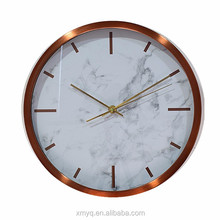 12 inch round simple rose gold world time zone wall clock