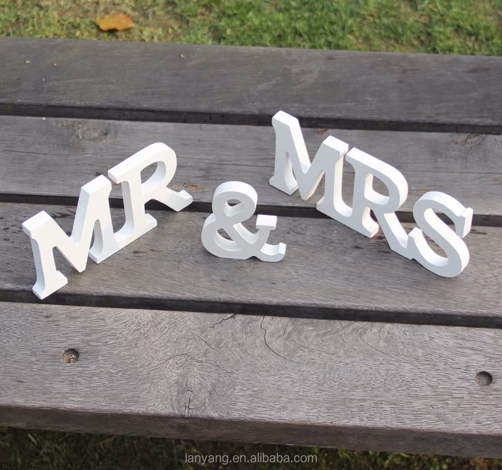 MR /& MRS Wedding Reception Wooden Letters Table Top Centrepiece Decoration