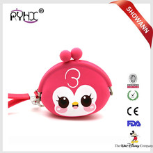 Factory price custom colorful cute animal shape silicone coin purse for promotion