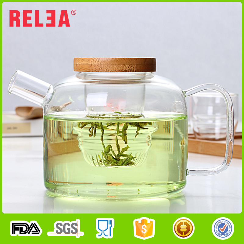 RELEA oem available teapot 750ml,cup 88ml Portable glass Chinese tea pot set