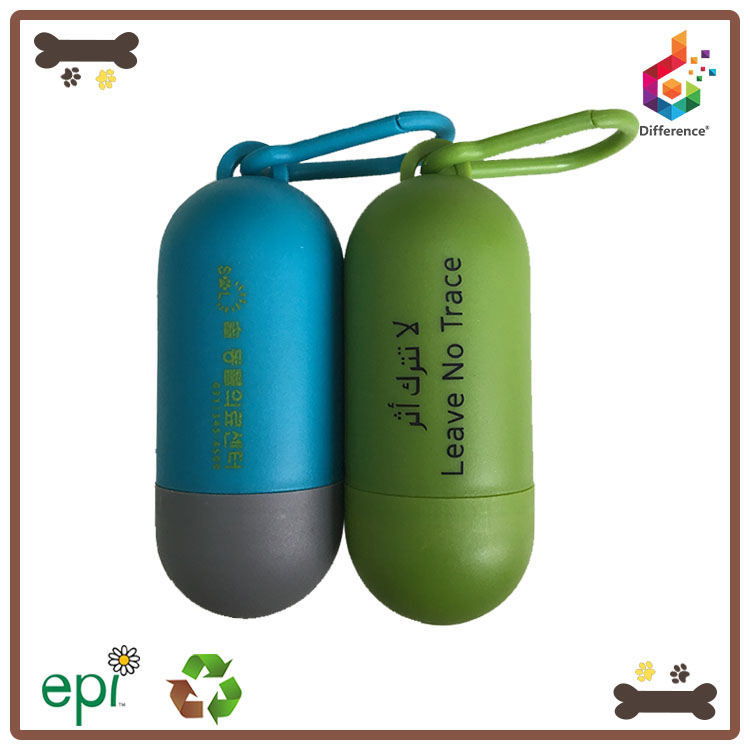 Custom logo pill shaped dog poop bag dispenser for leash