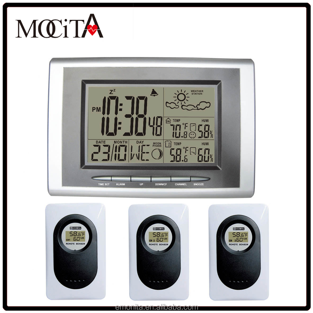 Weather Forecast Clock 433MHz RF Wireless Weather Station Indoor Outdoor Temperature Humidity Digital Alarm 3 Transmitters