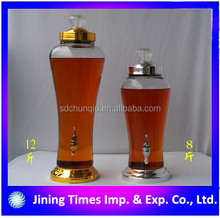 Top grade 3L glass ginseng bottle with golden lid / 3L medicated glass ginseng wine bottle with golden lid
