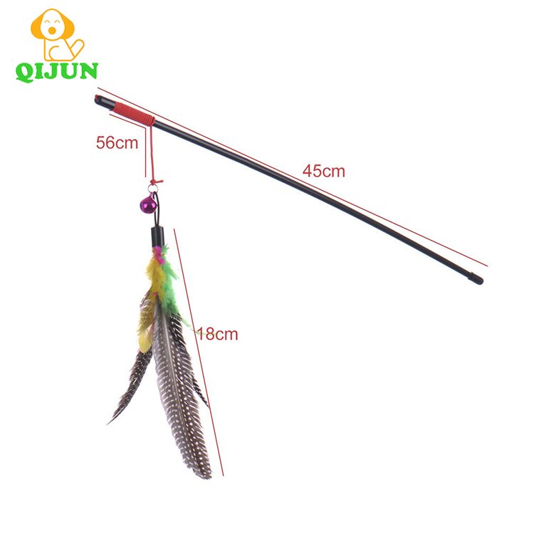 High quality Pet cat Cute Design bird Feather Teaser Wand Plastic Toy