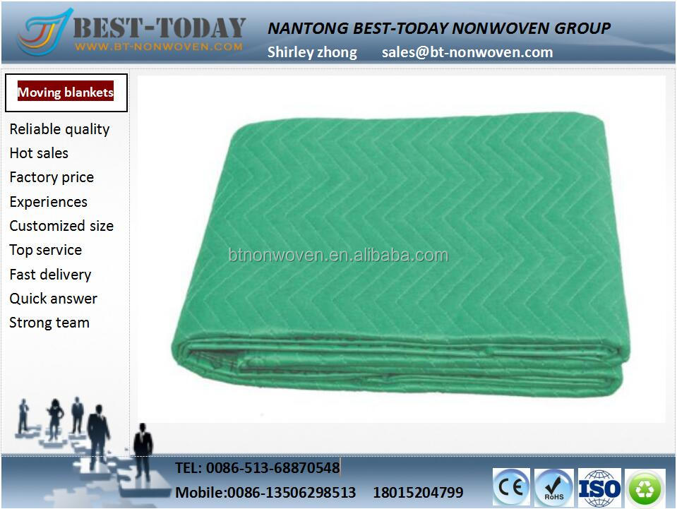 Durable stock green 220*240cm Polyester Moving blankets