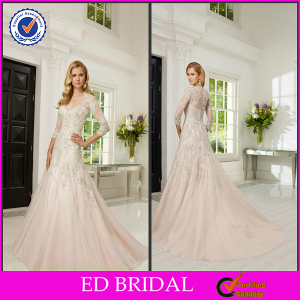 EDW323 Gorgeous Scoop Neckline Pearl Pink Sweep Train Patterns Muslim Bridal Wedding Dress