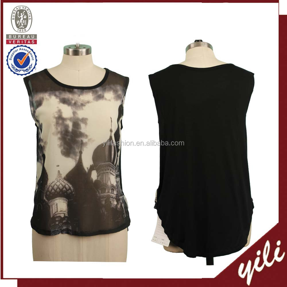 Printed revealing sleeveless chiffon blouse Pictures of casual blouse