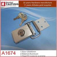 Grey color stainless steel cabinet clasp case hasp lock with keys