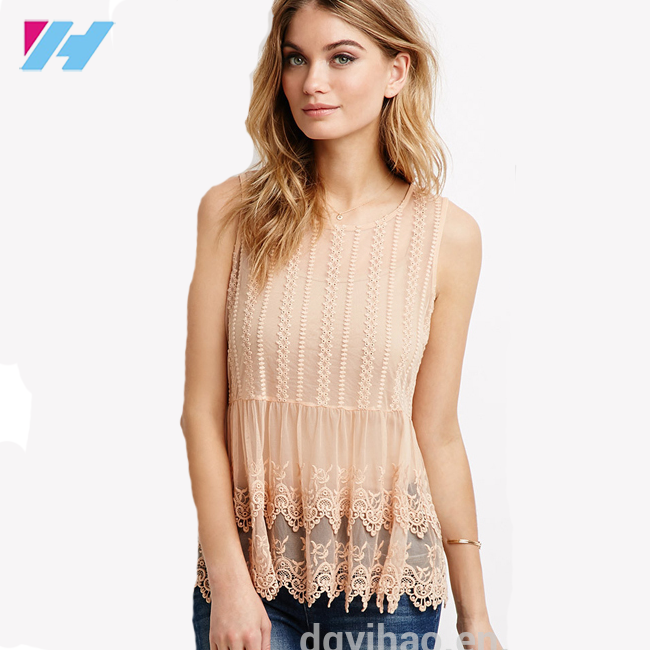 Yihao Mesh Layered Blouse Embroidered Tank Top fashion loose models mesh sleeves layered blouses for lady 2016 wholesale custom