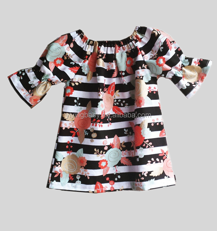 Wholesale childrens boutique clothing frocks designs baby printing fashion dress for girls