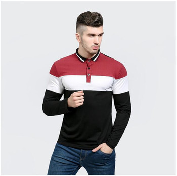 Free Shipping Mens Long Sleeve Polo Shirts Fashion Casual Tee Shirt Business Tops