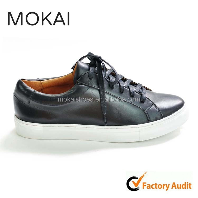 J001-M1 BLACK hot sale new style fashion sneakers for men and women,handmade genuine cow leather shoes