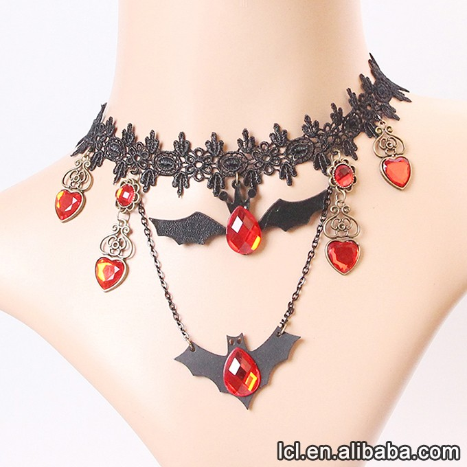 Gothic black fabric choker necklace, hot sale black stone necklace