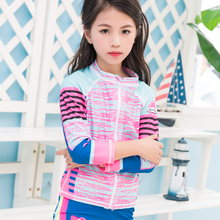 2017 summer new arrvial fashion design kids swimwear lycra swimsuit with tops and bottoms sublimation print rashguard for kids