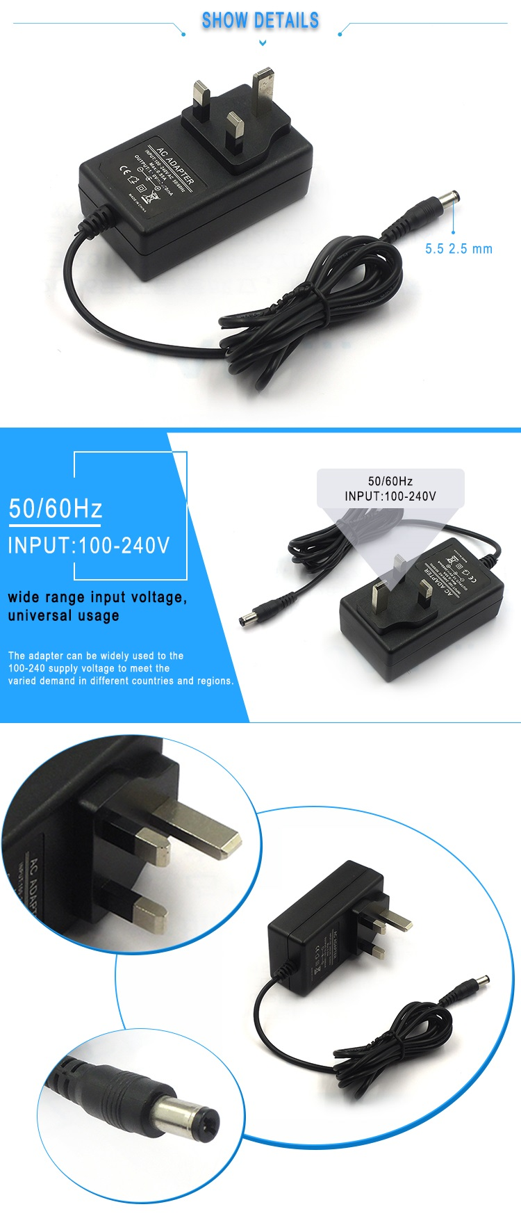Wall-mount Type 9V 2A UK Plug AC/DC Power Adapter 18W Power Adapter