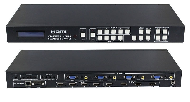 HD 4x4 Video Processing Matrix Switcher features Multi format inputs, CVBS, YPbPr,VGA and VGA and outputs