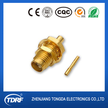 straight SMA female rf connector bulkhead mount gold plated waterproof ip67