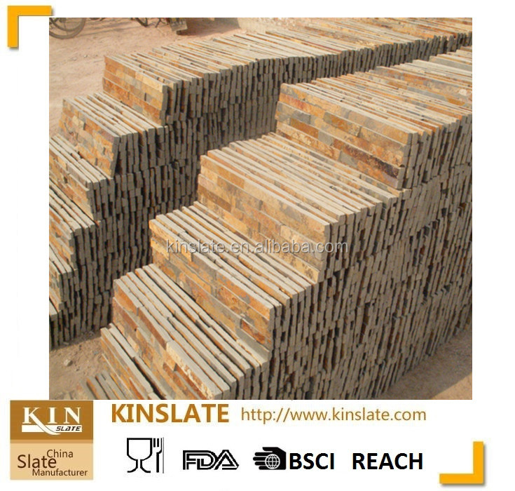 KINSLATE Manufactured Cultured Stone Veneer Wall Siding with natural rusty color