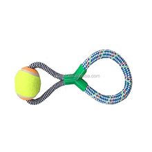 Cheap wholesale colorful rope dog toy with tennis ball and rope