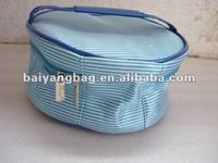 round shape in blue color satin cosmetic case