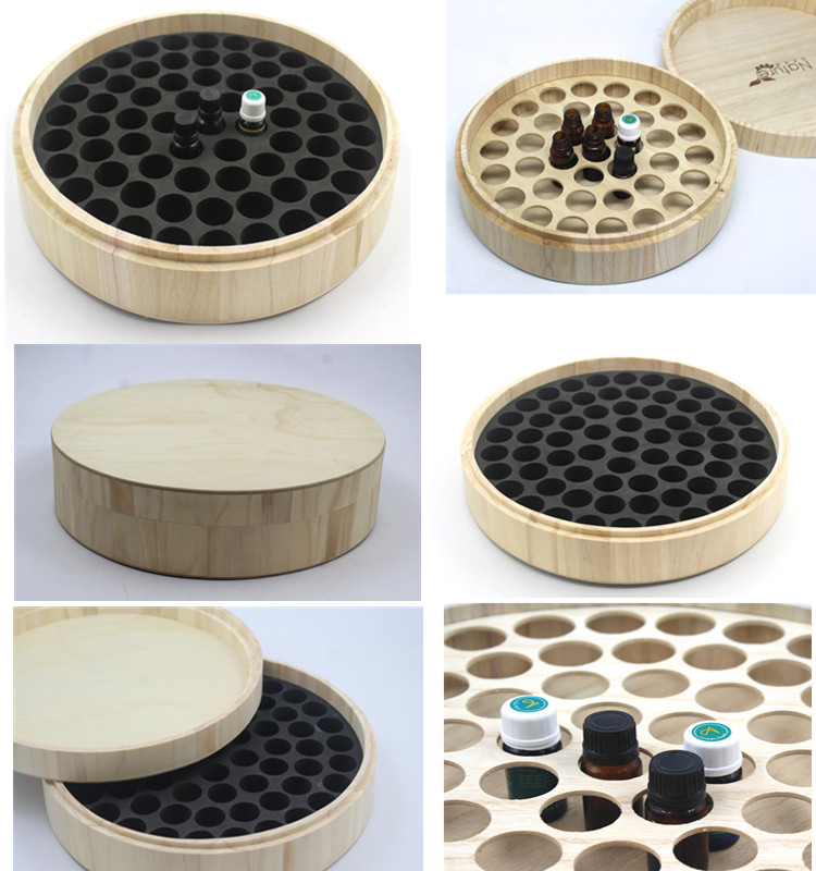 Round Shape Paulownia Wood Essential Oil Box Wooden Storage Craftwork