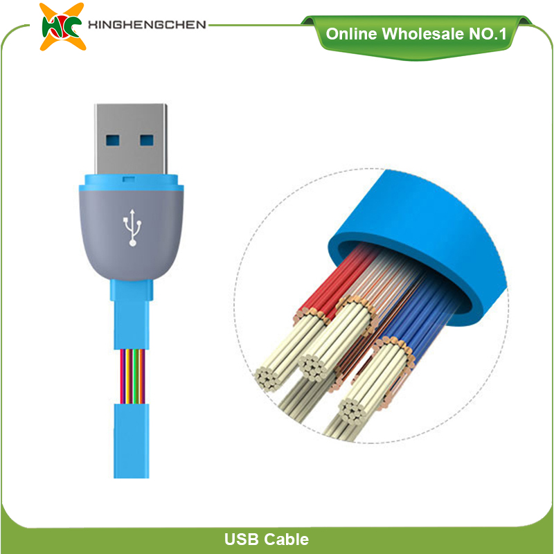China suppliers for samsung for iphone usb cable 2 in 1 flat usb cable