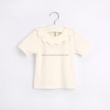 Hot summer plain white ruffle collar sweet baby girls short sleeve t shirt